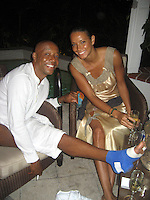 **EXCLUSIVE**.Russell Simmons with a broken foot and his girlfriend  Porschla Coleman.Russsell Simmons Party.Carl Gustaf Hotel.St. Barth, Caribbean.Friday, December 28, 2007 .Photo By Selma Fonseca/ Celebrityvibe.com.To license this image please call (212) 410 5354; or.Email: celebrityvibe@gmail.com ;.website: www.celebrityvibe.com