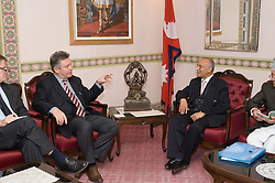 KATHMANDU, NEPAL - NOV-04-2006 - Karel De Gucht , Belgian Minister of Foreign Affairs, meets with K.P. Sharma Oli, Nepalese Vice Prime Minister and Foreign Affairs Minister, in KATHMANDU. (REPORTERS © JOCK FISTICK)