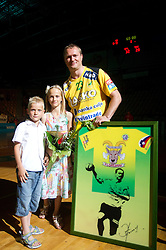 Eduard Koksarov of Celje PL with his children - son Sasa and daughter Dina during his farewell ceremony after the handball match between RK Celje Pivovarna Lasko and Trimo Trebnje of last Round of 1st Slovenian Handball league, on May 27, 2011 in Arena Zlatorog, Celje, Slovenia. Celje defeated Trimo 32-28 and win 3rd place in Slovenian National Championship. (Photo By Vid Ponikvar / Sportida.com)