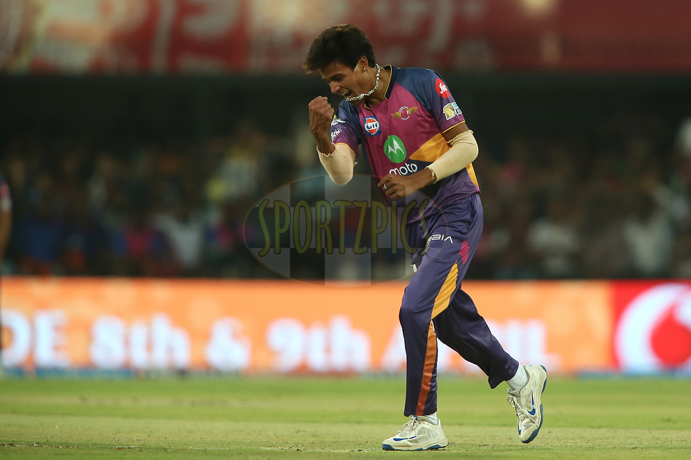 Rahul Chahar of Rising Pune Supergiant celebrates after getting Hashim Amla of Kings XI Punjab wicket during match 4 of the Vivo 2017 Indian Premier League between the Kings XI Punjab and the Rising Pune Supergiant held at the Holkar Cricket Stadium in Indore, India on the 8th April 2017<br /> <br /> Photo by Shaun Roy - IPL - Sportzpics