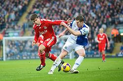 BLACKBURN, ENGLAND - Saturday, December 6, 2008: Liverpool's Emiliano Insua and Blackburn Rovers' Brett Emerton during the Premiership match at Ewood Park. (Photo by David Rawcliffe/Propaganda)
