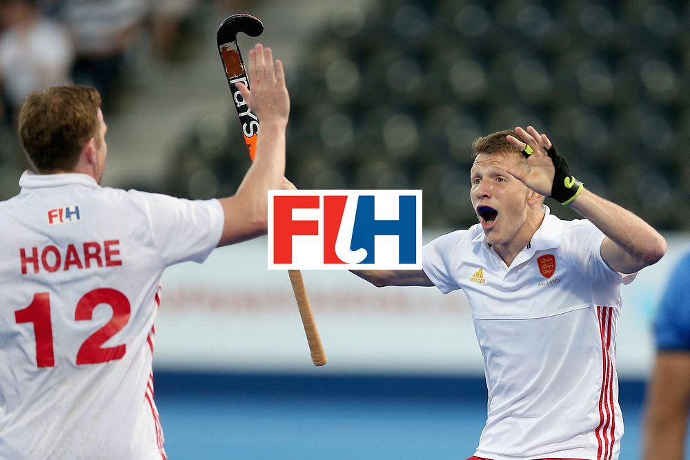 LONDON, ENGLAND - JUNE 20:  Sam Ward of England celebrates scoring his sides fourth goal with Michael Hoare of England during the Pool A match between England and South Korea on day six of the Hero Hockey World League Semi-Final at Lee Valley Hockey and Tennis Centre on June 20, 2017 in London, England.  (Photo by Alex Morton/Getty Images)