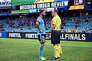 April 29, 2017: Sydney FC forward Alex BROSQUE (captain) (14) unhappy with the touch judge call at Semi Final one of the 2016/17 Hyundai A-League match, between Sydney FC and Perth Glory, played at Allianz Stadium in Sydney.