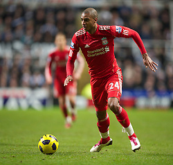 NEWCASTLE, ENGLAND - Saturday, December 11, 2010: Liverpool's David Ngog in action against Newcastle United during the Premiership match at St James' Park. (Photo by: David Rawcliffe/Propaganda)