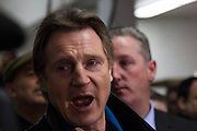 March, 9, 2014 - New York, NY. Liam Neeson voices his support for carriage drivers at the Clinton Park Horse Stables. There, he gave a private tour to City Council members. 030914 Photo by Julius Motal/NYCity Photo Wire