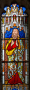 Victorian 19th century stained glass window, Lawshall church, Suffolk, England, UK by Horwood Bros