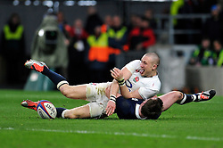 Mike Brown of England is all smiles after crossing the try-line but the score is soon ruled out for a forward pass - Photo mandatory by-line: Patrick Khachfe/JMP - Mobile: 07966 386802 14/03/2015 - SPORT - RUGBY UNION - London - Twickenham Stadium - England v Scotland - Six Nations Championship