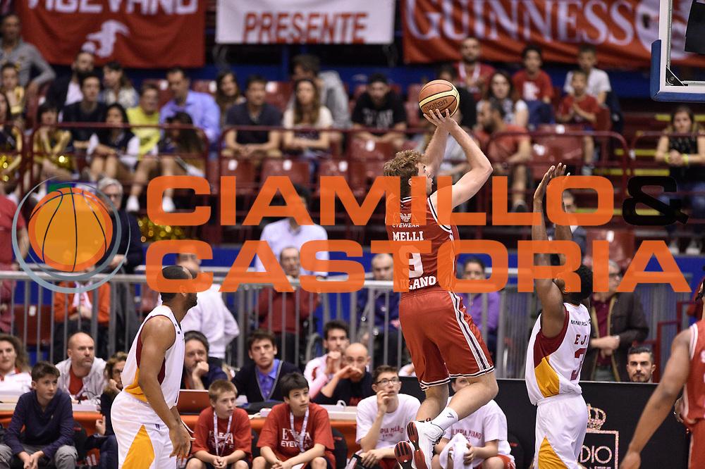DESCRIZIONE : Milano Lega A 2014-15 <br /> EA7 Olimpia Milano - Acea Virtus Roma <br /> GIOCATORE : Nicolo Melli<br /> CATEGORIA : tiro tecnica controcampo <br /> SQUADRA : EA7 Olimpia Milano<br /> EVENTO : Campionato Lega A 2014-2015 <br /> GARA : EA7 Olimpia Milano - Acea Virtus Roma<br /> DATA : 12/04/2015<br /> SPORT : Pallacanestro <br /> AUTORE : Agenzia Ciamillo-Castoria/GiulioCiamillo<br /> Galleria : Lega Basket A 2014-2015  <br /> Fotonotizia : Milano Lega A 2014-15 EA7 Olimpia Milano - Acea Virtus Roma
