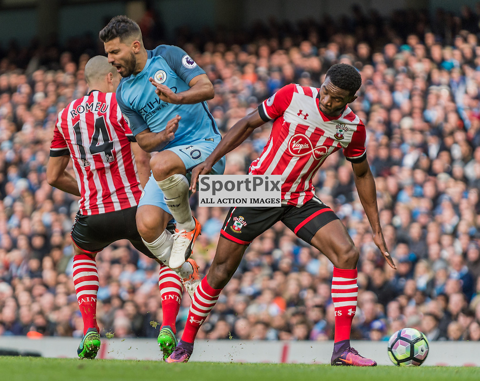 Manchester City forward Sergio Aguero (10) tries to get through the Southampton defence in the Premier League match between Manchester City and Southampton<br /> <br /> (c) John Baguley | SportPix.org.uk