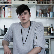 Ben of the Stansted 15 photographed in his home in North London.