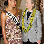 Miss American Samoa and US Secretary of State Hillary Clinton enjoy a few personal moments together just prior to the Secretary's departure.  Photo by Barry Markowitz, 11/8/10, 1am