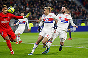 Mariano Diaz of Lyon and Alphonse Areola of Paris and Lucas Tousart of Lyon during the French Championship Ligue 1 football match between Olympique Lyonnais and Paris Saint-Germain on January 21, 2018 at Groupama stadium in Decines-Charpieu near Lyon, France - Photo Romain Biard / Isports / ProSportsImages / DPPI