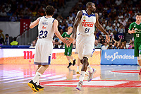 Real Madrid's Sergio Llull and Othello Hunter and Unicaja Malaga's XXX during semi finals of playoff Liga Endesa match between Real Madrid and Unicaja Malaga at Wizink Center in Madrid, May 31, 2017. Spain.<br /> (ALTERPHOTOS/BorjaB.Hojas)