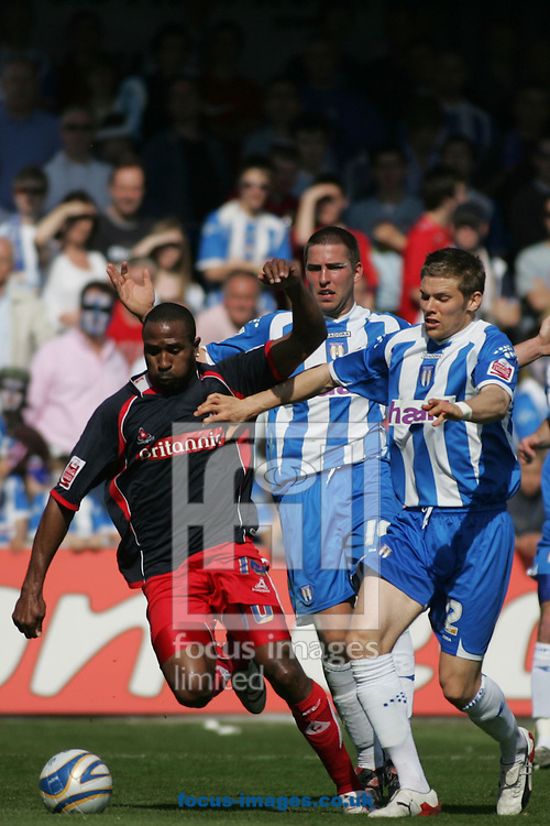 Colchester - Saturday, April 26th, 2008: Danny Granville (R) of Colchester United and Ricardo Fuller (L) of Stoke City during the Coca Cola Championship match at Layer Road, Colchester. (Pic by Mark Chapman/Focus Images)
