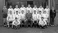 Ulster Inter-Provincial Rugby Team which played Leinster at Ravenhill December 1968. Back row - L to R: 1, 2, 3, Willy John McBride, 5,6,7,8; Middle - L to R: 1,2,3,4,5,6,7; Front - L to R - 1 and 2.  196812000272BW<br /> <br /> PLEASE EMAIL ME IF YOU CAN POSITIVELY IDENTIFY ALL OR ANY OF THE PLAYERS AND OFFICIALS?<br /> <br /> Copyright Image from Victor Patterson, 54 Dorchester Park, Belfast, UK, BT9 6RJ<br /> <br /> t: +44 28 9066 1296<br /> m: +44 7802 353836<br /> vm +44 20 8816 7153<br /> <br /> e1: victorpatterson@me.com<br /> e2: victorpatterson@gmail.com<br /> <br /> www.victorpatterson.com<br /> <br /> IMPORTANT: Please see my Terms and Conditions of Use at www.victorpatterson.com