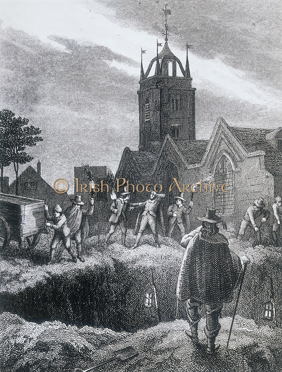 Consigning bodies of the plague to a communal grave in the plague pit - Plague of London, 1665.  Nineteenth century illustration.