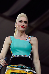 01 May 2015. New Orleans, Louisiana.<br /> The New Orleans Jazz and Heritage Festival. <br /> Gwen Stefani with the band No Doubt on the Acura stage.<br /> Photo; Charlie Varley/varleypix.com