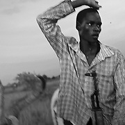 In Yuai, a young man from the Lou Nuer tribe puts his arm in the air to imitate the horns of the cows. Horns are a symbol of power. The South Sudanese take great care in twisting the horns of cows so they grow longer and bigger. <br /> In South Sudan, the number of cows in a family defines its wealth. Cows are also used as a way to pay for the dowry when a son wants to get married. They are also used to get weapons on the black market, one kalashnikov is worth three cows.