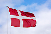 Danish flag on flagpole in Denmark