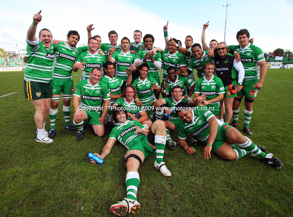 The Manawatu team (and fans) celebrate the win.<br /> Air NZ Cup rugby - Manawatu Turbos v North Harbour at FMG Stadium, Palmerston North, New Zealand. Saturday, 24 October 2009. Photo: Dave Lintott/PHOTOSPORT