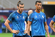 Gareth Bale of Real Madrid (left) and Cristiano Ronaldo of Real Madrid (right) pictured during Real Madrid training prior to their UEFA Champions League Final match against Atl&eacute;tico Madrid. San Siro, Milan, Italy.<br /> Picture by Kristian Kane/Focus Images Ltd 07814482222<br /> 27/05/2016