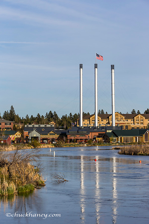 The Deschutes River in the Old Mill District of Bend, Oregon, USA