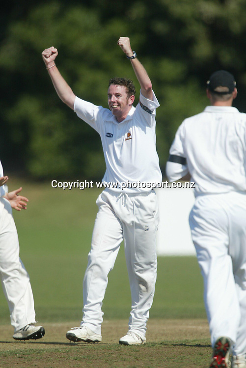 Iain O'Brien celebrates after taking a wicket during the State Championship cricket match between the Auckland Aces and Wellington Firebirds at Colin Maiden Park, Auckland, 26 March, 2002. Photo: Sandra Teddy/PHOTOSPORT<br />