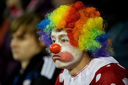 STOKE-ON-TRENT, ENGLAND - Monday, October 31, 2011: An unhappy Stoke City supporter dressed as a clown watches his side lose 3-1 against Newcastle United during the Premiership match at the Britannia Stadium. (Pic by David Rawcliffe/Propaganda)