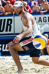 Marcio Araujo of Brazil watches ball passing by at A1 Beach Volleyball Grand Slam tournament of Swatch FIVB World Tour 2010, semifinal, on August 1, 2010 in Klagenfurt, Austria. (Photo by Matic Klansek Velej / Sportida)