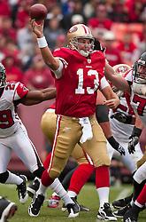 October 11, 2009; San Francisco, CA, USA;  San Francisco 49ers quarterback Shaun Hill (13) in the first quarter against the Atlanta Falcons at Candlestick Park. Atlanta won 45-10.