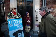 Een man wordt tegengehouden als hij college wil gaan volgen. Studenten hebben een gebouw van de faculteit Geesteswetenschappen van de Universiteit Utrecht aan de Drift in Utrecht bezet. Met de actie willen de studenten duidelijk maken dat ze tegen de bezuinigingen in het onderwijs zijn. Later op de dag volgt een manifestatie op de Neude, waarna in het bezette gebouw debatten en dergelijke worden gehouden.<br /> <br /> A man is stopped at the entrance of a building of the Utrecht University. Students have occupied a building of the Utrecht University to protest against the cuts in the higher education. During the day there was also a small demonstration in the center of Utrecht.