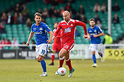 Wrexham AFC Midfielder, Russell Penn (16) and Eastleigh Forward, Matt Tubbs (10) during the Vanarama National League match between Eastleigh and Wrexham FC at Arena Stadium, Eastleigh, United Kingdom on 29 April 2017. Photo by Adam Rivers.