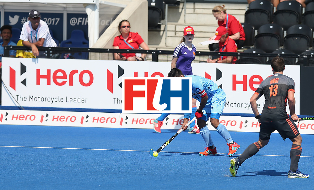 LONDON, ENGLAND - JUNE 20: Manpreet Singh of India during the Pool B match between India and the Netherlands on day six of the Hero Hockey World League Semi-Final at Lee Valley Hockey and Tennis Centre on June 20, 2017 in London, England.  (Photo by Alex Morton/Getty Images)