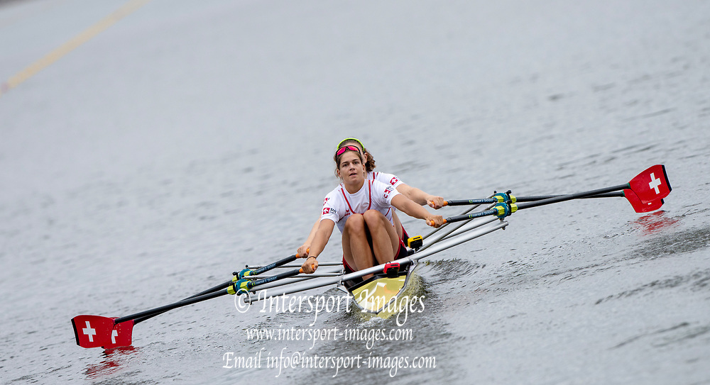 "Glasgow, Scotland, ""2nd August 2018"", Swiss Double,  SUI W2X, Pascale WALKER and Valerie ROSSET, competing in the Women's Double Sculls, at the European Games, Rowing, Strathclyde Park, North Lanarkshire, © Peter SPURRIER/Alamy Live News"