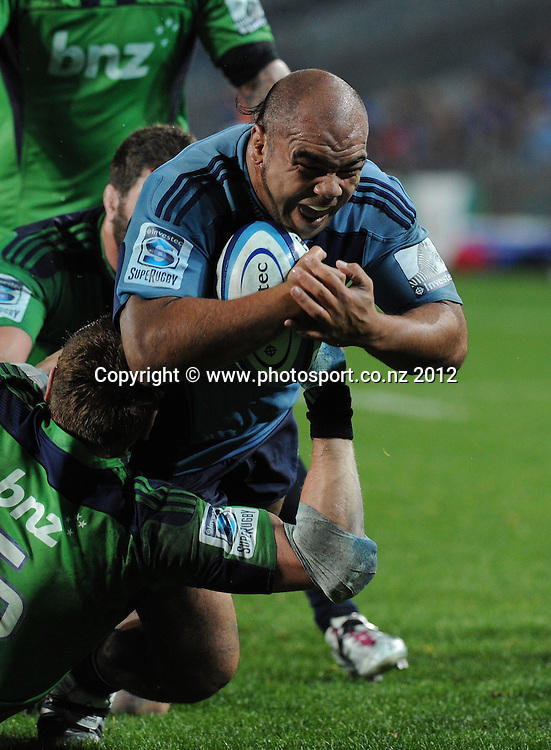 Blues prop Tevita Mailau scores a try during the Blues and Highlanders at Eden Park, Auckland, New Zealand on Saturday 26 May 2012. Photo: Andrew Cornaga/Photosport.co.nz