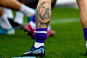 Shrewsbury Town forward Jason Cummings (35) Bulldog Tattoo during the EFL Sky Bet League 1 match between Oxford United and Shrewsbury Town at the Kassam Stadium, Oxford, England on 7 December 2019.