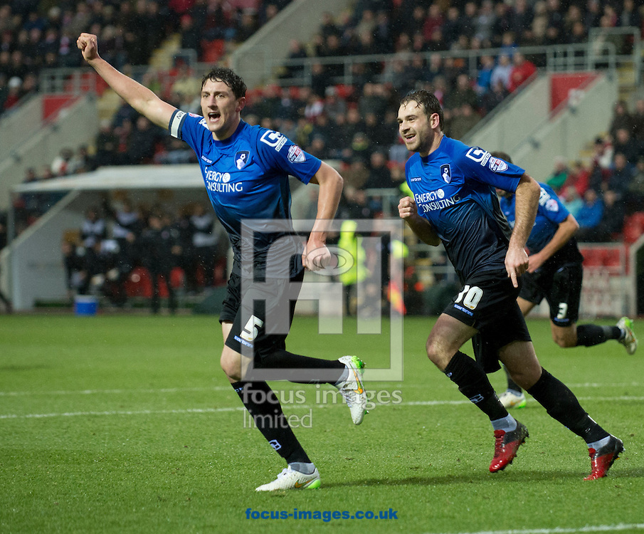 Tommy Elphick of Bournemouth (left) celebrates after scoring his team's 1st goal to make it 1-0 during the Sky Bet Championship match at the New York Stadium, Rotherham<br /> Picture by Russell Hart/Focus Images Ltd 07791 688 420<br /> 17/01/2015