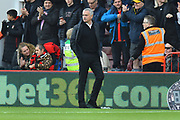 Manchester United manager Jose Mourinho looks unhappy as he walks to the dug out after Bournemouth take a 1-0 lead during the Premier League match between Bournemouth and Manchester United at the Vitality Stadium, Bournemouth, England on 3 November 2018.