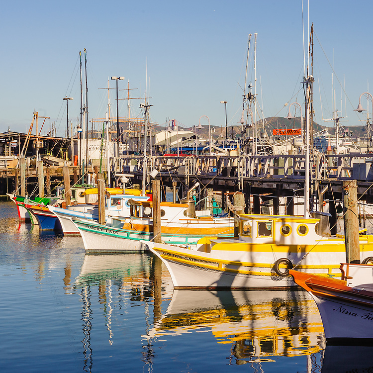 Fisherman's Wharf, San Francisco, California, Row of fishing boats in marina