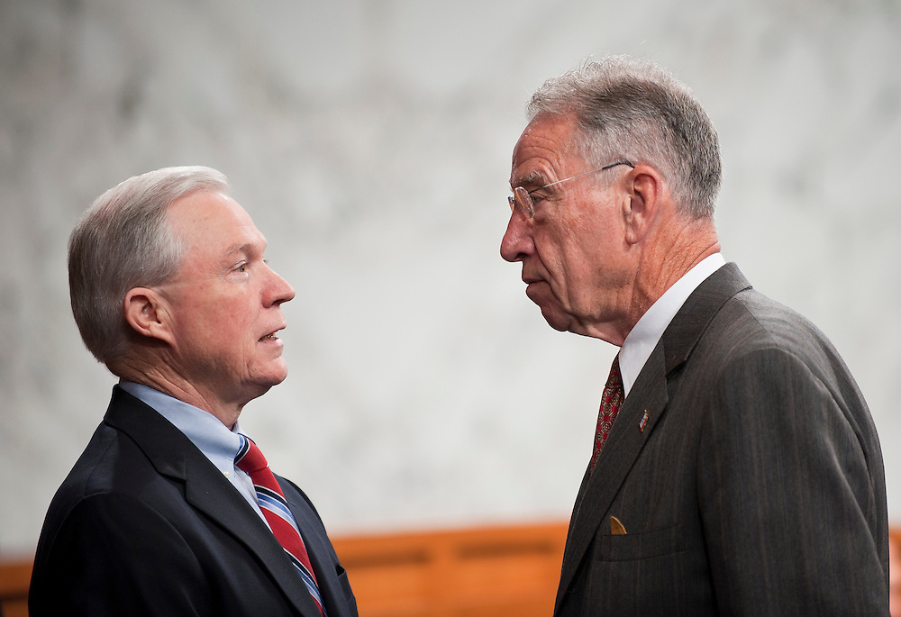Jul 20, 2010 - Washington, District of Columbia, U.S., - Senators JEFF SESSIONS (R-AL), left and CHUCK GRASSLEY (R-IA) confer before the start of the Senate Judiciary hearing on Tuesday. The Committee voted, 13-6, in favor of Solicitor General Kagan's confirmation to the Supreme Court. The vote was largely along party lines except for Senator Graham, (R-S.C.),  who broke ranks with his GOP colleagues by supporting her. The full Senate is expected to take up Kagan's nomination in early August..(Credit Image: © Pete Marovich/ZUMA Press)