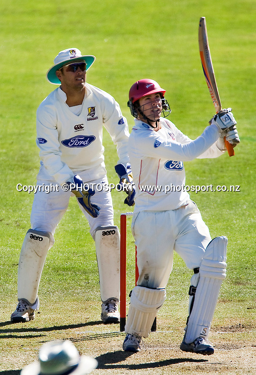 Canterbury's Todd Astle batting during play on day three with wicket keeper Brad Wilson. Canterbury Wizards v Northern Knights, Plunket Shield Game held at Mainpower Oval, Rangiora, Wednesday 06 April 2011. Photo : Joseph Johnson / photosport.co.nz