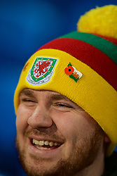 CARDIFF, WALES - Tuesday, November 14, 2017: A Wales supporter's Spirit of '58 hat with poppy pin badge before the international friendly match between Wales and Panama at the Cardiff City Stadium. (Pic by David Rawcliffe/Propaganda)