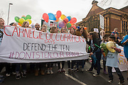 Campaigners against the closure by Lambeth council  of Carnegie Library in Herne Hill, south London, start to march into Brixton after emerging from the premises on the 10th day of occupation, 9th April 2016. The local community have been occupying their important resource for learning and social hub and after a long campaign, Lambeth have gone ahead and closed the library's doors for the last time because they say, cuts to their budget mean millions must be saved. They plan to re-purpose it into a gym although details are unknown.