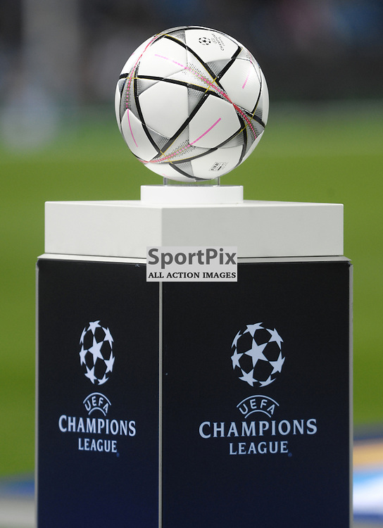 The match ball<br /> <br /> Manchester City v Dynamo Kiev, UEFA Champions League, Tuesday 15th March 2016<br /> <br /> (c) Alex Todd | SportPix.org.uk