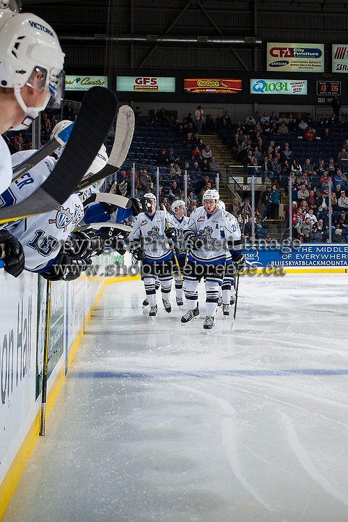KELOWNA, CANADA - OCTOBER 4: Regan Nagy #24 of the Victoria Royals celebrates a goal against the Kelowna Rockets on October 4, 2017 at Prospera Place in Kelowna, British Columbia, Canada.  (Photo by Marissa Baecker/Shoot the Breeze)  *** Local Caption ***