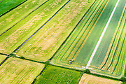 Nederland, Utrecht, Gemeente De Bilt, 26-06-2013; polder Achtteinhoven, tussen Westbroek en Hollandsche Rading.<br /> Maaien van het gras.<br /> Cutting and harvesting grass.<br /> luchtfoto (toeslag op standaard tarieven);<br /> aerial photo (additional fee required);<br /> copyright foto/photo Siebe Swart.