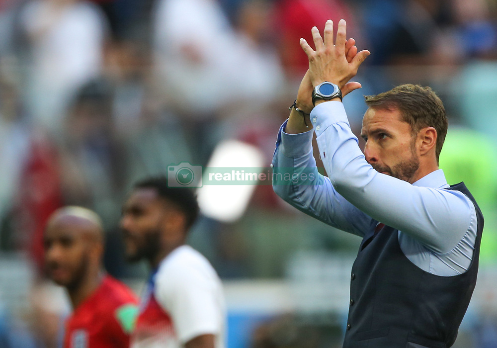 July 14, 2018 - Saint Petersburg, Russia - Head Coach Gareth Southgate of the England national football team reacts after the 2018 FIFA World Cup Russia 3rd Place Playoff match between Belgium and England at Saint Petersburg Stadium on July 14, 2018 in St. Petersburg, Russia. (Credit Image: © Igor Russak/NurPhoto via ZUMA Press)