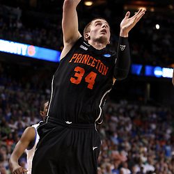 Mar 17, 2011; Tampa, FL, USA; Princeton Tigers forward Ian Hummer (34) shoots against the Kentucky Wildcats during second half of the second round of the 2011 NCAA men's basketball tournament at the St. Pete Times Forum. Kentucky defeated Princeton 59-57.  Mandatory Credit: Derick E. Hingle