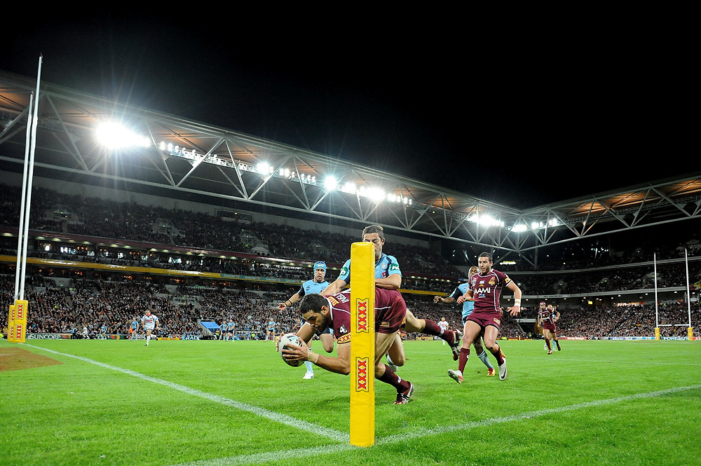 July 6th 2011: Greg Inglis of the Maroons scores a try during game 3 of the 2011 State of Origin series at Suncorp Stadium in Brisbane, QLD, Australia on July 6, 2011. Photo by Matt Roberts / mattrimages.com.au / QRL