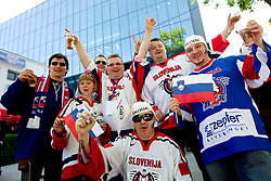 Slovenian fans prior to the ice-hockey match between Austria and Slovenia of Group G in Relegation Round of IIHF 2011 World Championship Slovakia, on May 7, 2011 in Orange Arena, Bratislava, Slovakia. Austria defeated Slovenia 3-2. (Photo By Vid Ponikvar / Sportida.com)